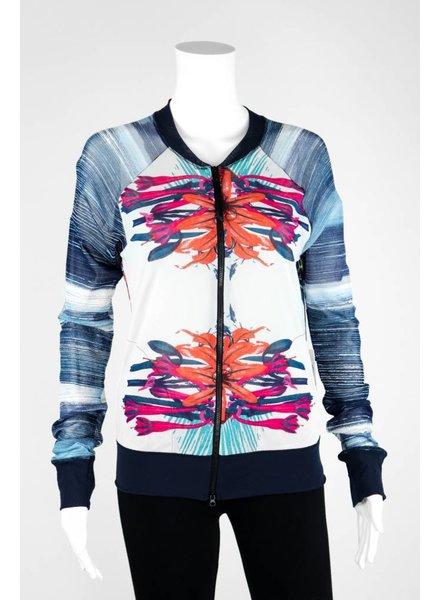 Petit Pois Floral Variegated Stripe Bomber Jacket