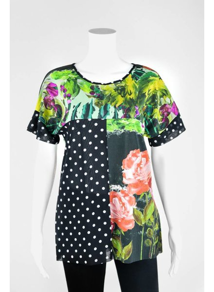 Petit Pois Short Sleeve Mixed Floral Print Shirt