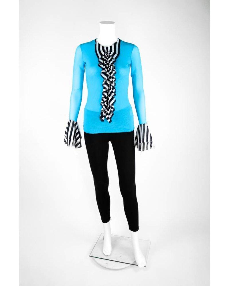 Petit Pois Black/White Stripe Flutter Sleeve Shirt