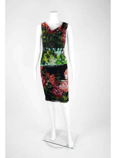 Petit Pois Sleeveless Cowl Neck Floral Print Dress