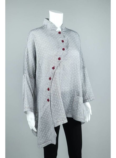 M Square White Check Cotton Blouse Red Buttons
