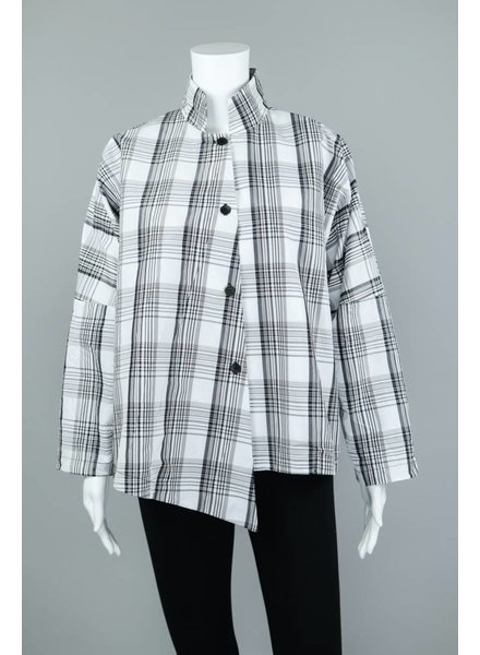 M Square White/Black Plaid Button Blouse