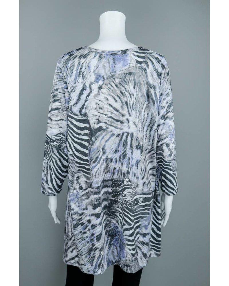 Prairie Cotton Half Sleeve Zebra Print Top