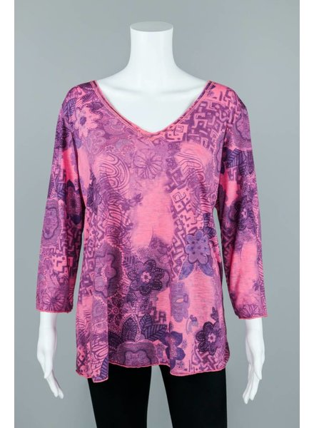 Prairie Cotton Long Sleeve Flower Print V-Neck Top