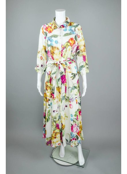 Alembika Tied Button Down Flower Dress