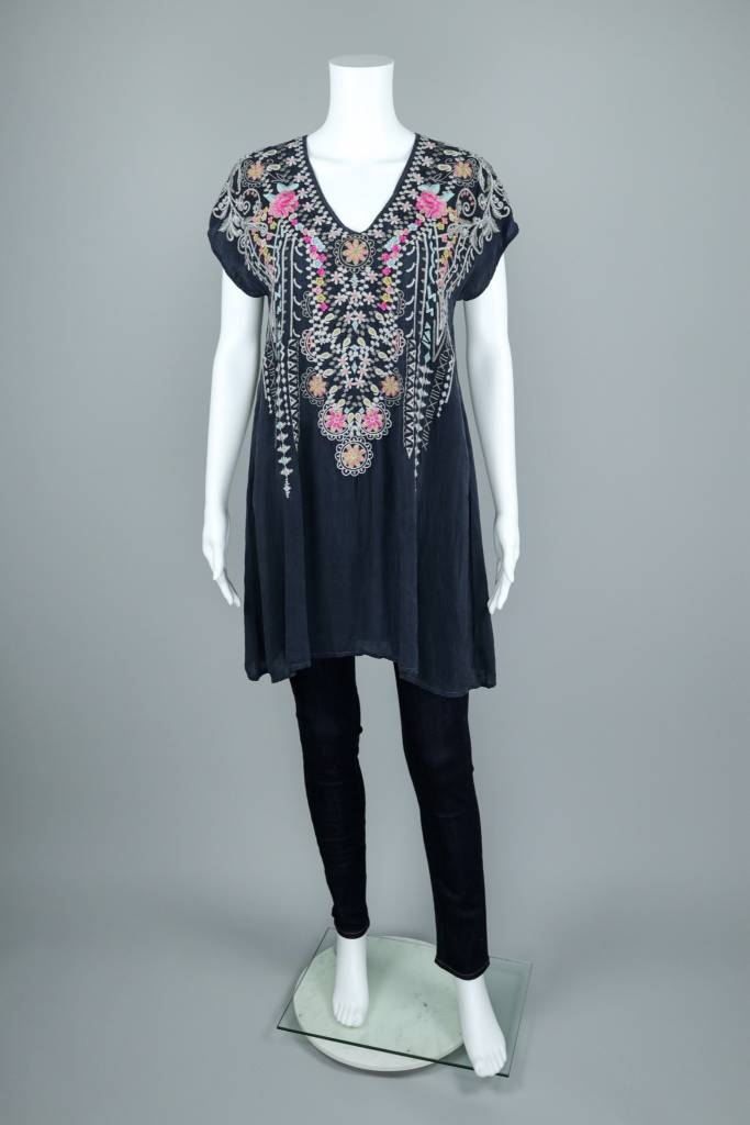 Karineth Floral Embroidery V Neck Tunic