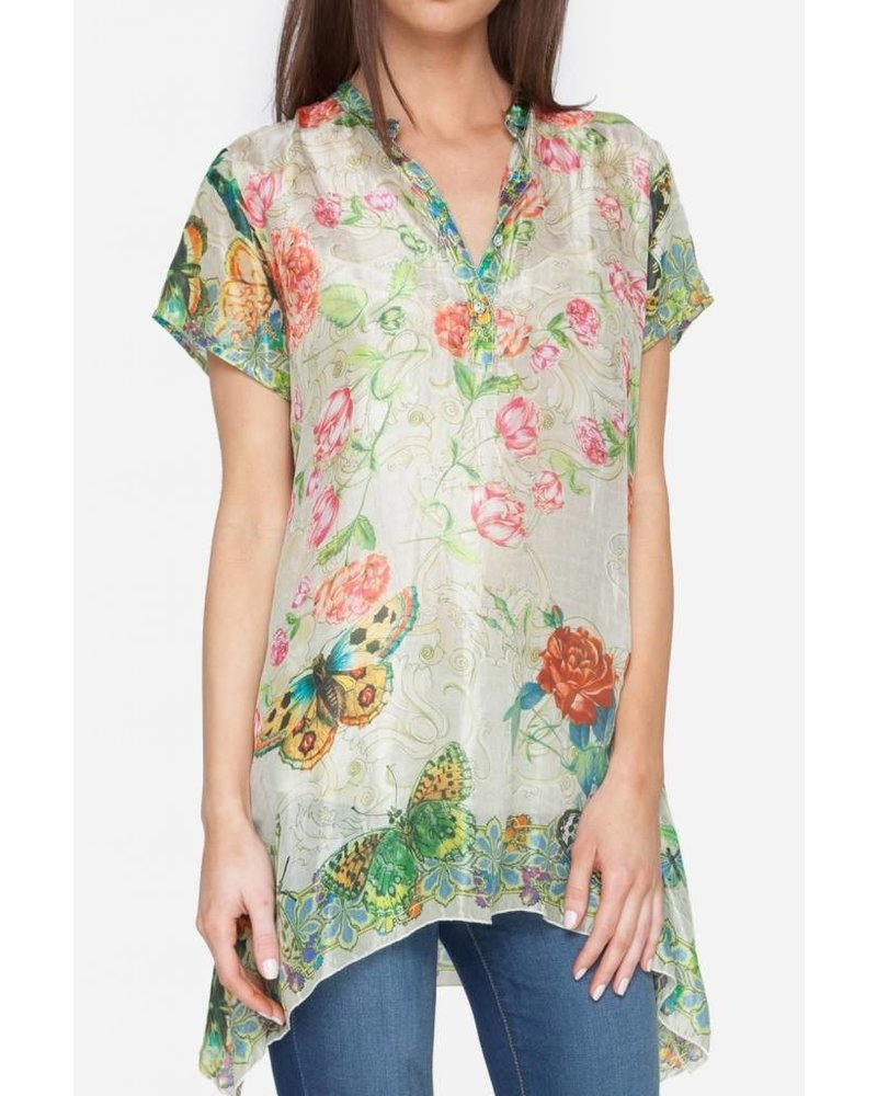 Johnny Was Holly Print Henly Short Sleeve Tunic
