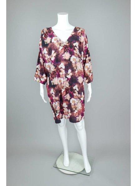 The O'Dells Long Sleeve V Neck Flower Dress