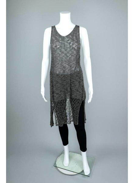 Stella Carakasi Lace Cotton Knit Long Sleeveless Tunic