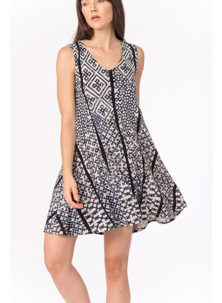 Bel Kazan Knit V Neck Swing Print Dress
