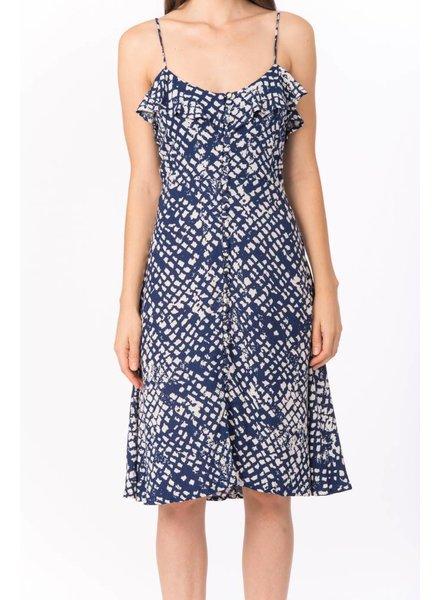 Bel Kazan Ruffle Button Front Ivory Tile Print Dress