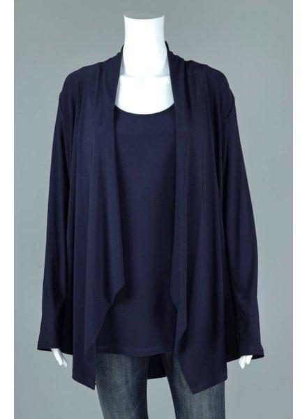 Compli K Navy Knit Layered Back Cardigan