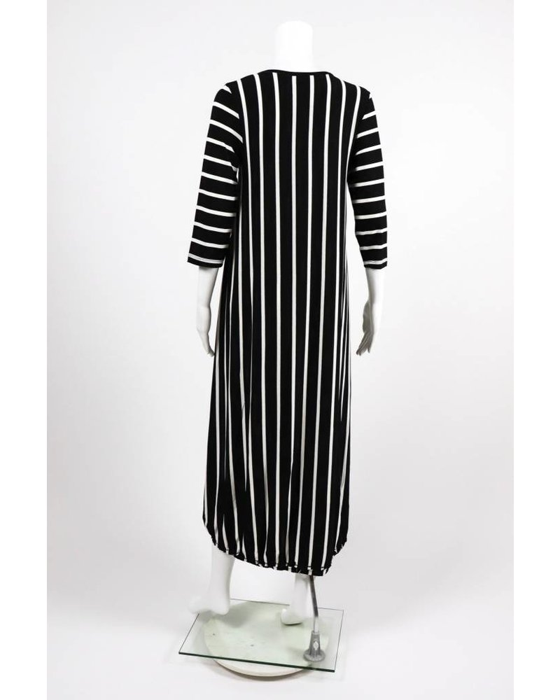 Alembika 3/4 Sleeve HiLo Striped Dress
