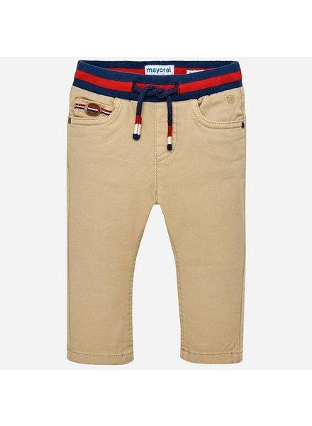 Mayoral Woven Straight-Leg Pants w/ Knit Waistband
