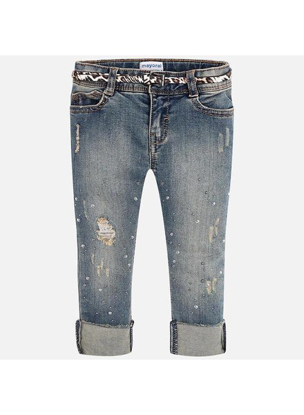 Mayoral Distressed Cuffed Jean w/ Leopard Belt