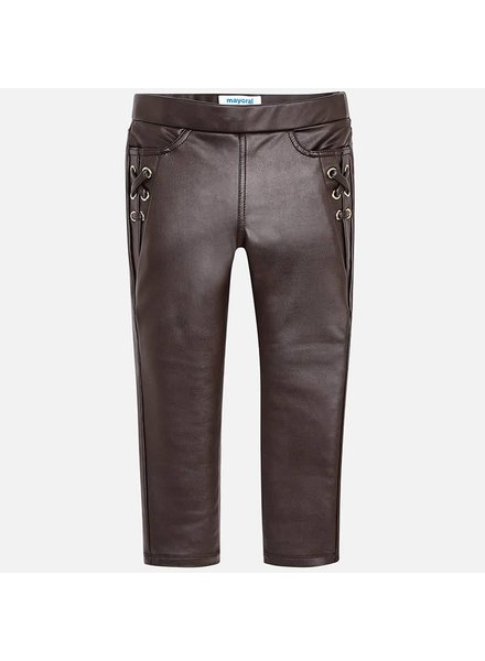 Mayoral Lace Up Elastic Leatherette Pant