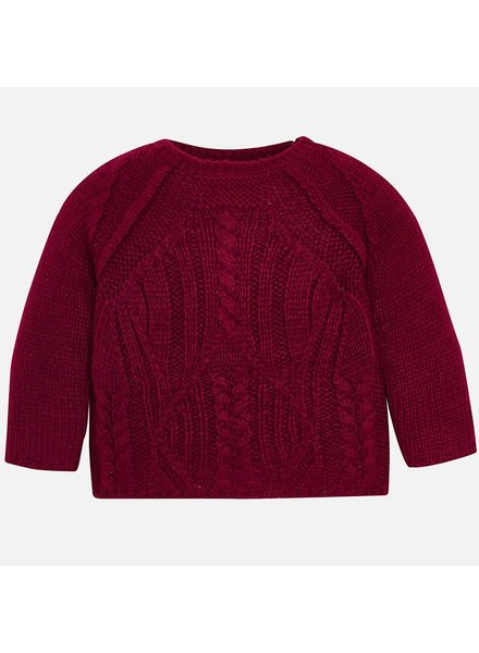 Mayoral Raspberry Chunky Cable-Knit Sweater