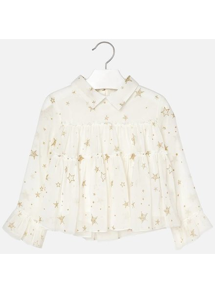 Mayoral Stars Gauze Long Sleeve Blouse