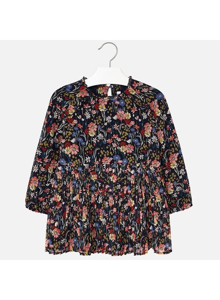 Mayoral Long-Sleeve Floral Chiffon Dress