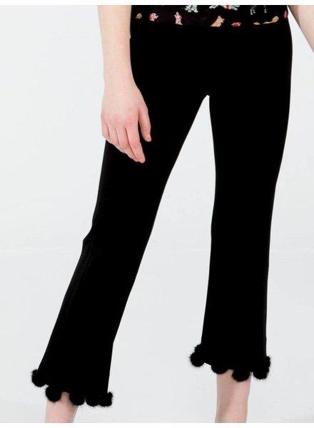 Vilagallo Giullia Fur Black Trousers