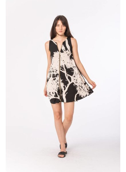 Bel Kazan Knit Cream Tree Print Zip Dress