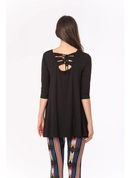 Bel Kazan Knit Back Lace Up Swing Tunic