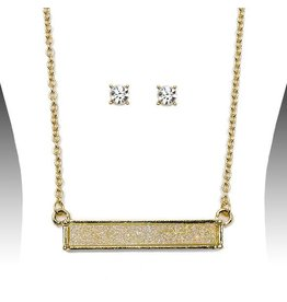 Bar Drusy Necklace Set