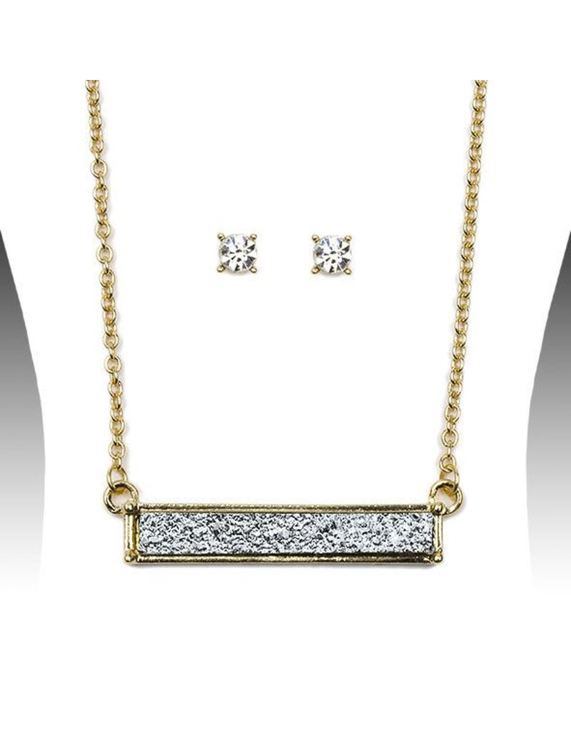 Bar Drusy Necklace Set