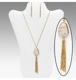 Druzy Stone Tassel Necklace