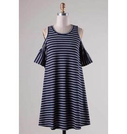 Fascination Cold Shoulder Striped Dress