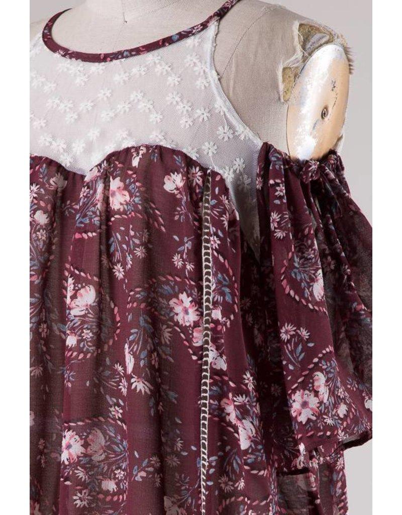 Lace-Contrast Cold Shoulder Top