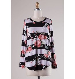 LS Stripe + Floral Top