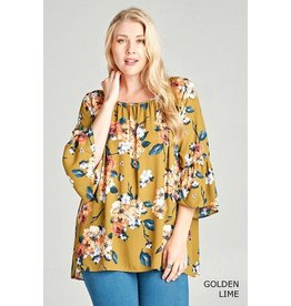 3/4 Length Floral Bell Sleeve Blouse