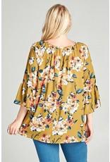 3/4 Length Floral Bell Sleeve Blouse