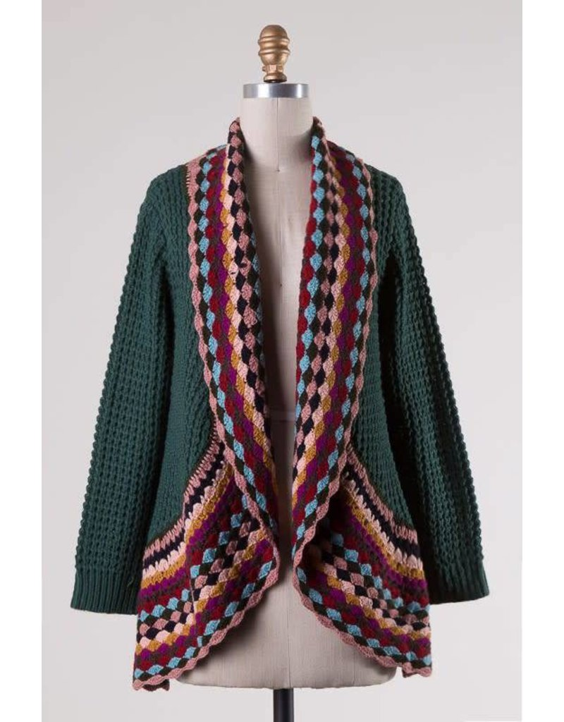 Cable Knit Sweater Cardigan - Bling Glamour