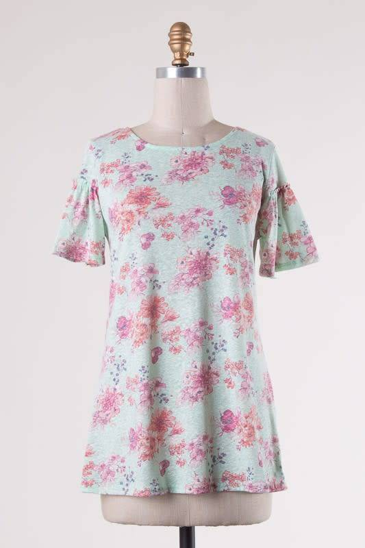 Ruffle Slve Floral Top