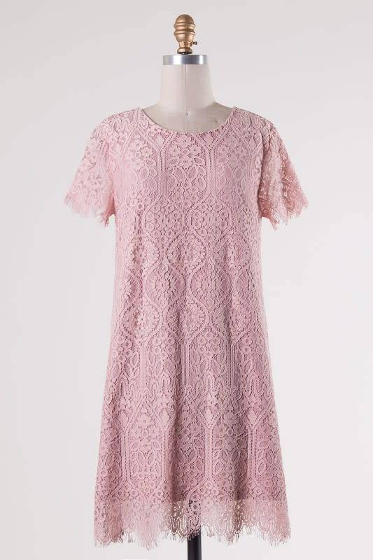 Scalloped Hem Lace Dress