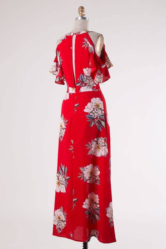 Cold Shoulder Floral Maxi
