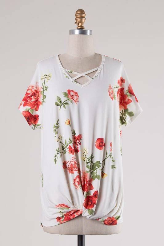 Floral Lattice Front Twist Top