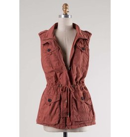 Sleeveless Mock Neck Button Down Vest