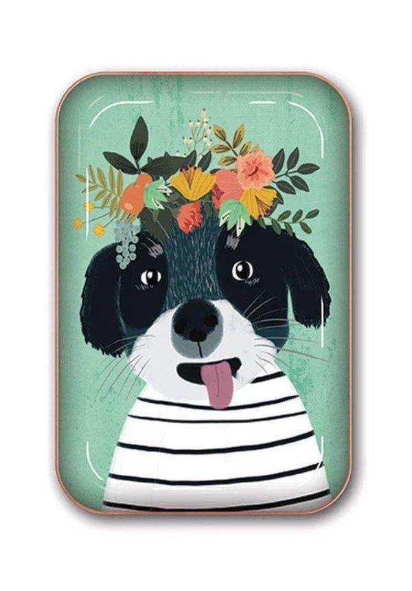 Fancy Flower Dog: Medium Metal Catchall