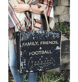 Mona B Football Burlap Tote