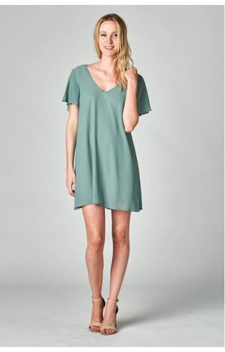 Solid Flare Sleeve Dress