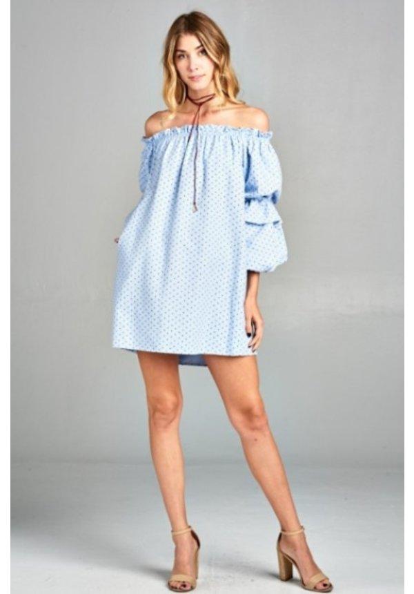 Bubble Sleeve Shift Dress