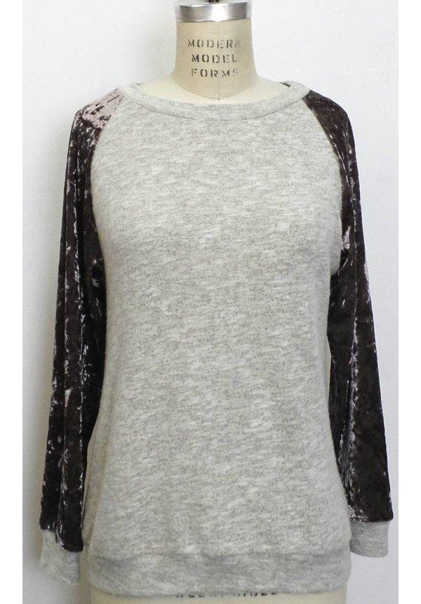 Velvet Sleeve Pullover