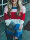 Color Block Cable Knit