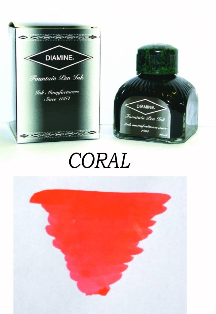 DIAMINE DIAMINE BOTTLED INK 80ML CORAL