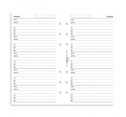 FILOFAX FILOFAX CONTACTS NAME/ADDRESS/TELEPHONE WHITE PERSONAL