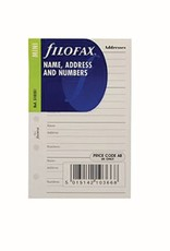 FILOFAX FILOFAX NAME/ADDRESS/NUMBERS WHITE MINI