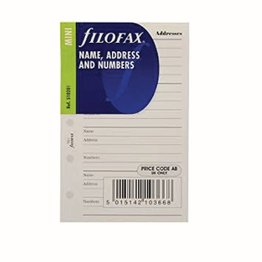 Filofax Filofax Name/Address/Numbers White Mini